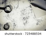 an ancient map  a compass and a ... | Shutterstock . vector #725488534