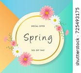 spring sale background with...   Shutterstock .eps vector #725493175