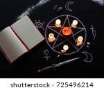 witchcraft  table set with... | Shutterstock . vector #725496214