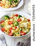 pasta salad with broccoli ... | Shutterstock . vector #725496955