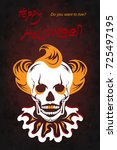 illustration clown skull.... | Shutterstock .eps vector #725497195