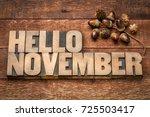 hello november greeting card  ... | Shutterstock . vector #725503417