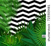tropical leaves background with ... | Shutterstock .eps vector #725505481