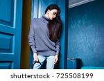 beautiful business woman lady... | Shutterstock . vector #725508199