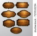 wooden signs  vector icon set | Shutterstock .eps vector #725510254