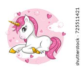 cute magical unicorn. vector... | Shutterstock .eps vector #725511421