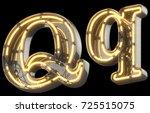 yellow neon sign chrome font.... | Shutterstock . vector #725515075