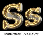 yellow neon sign chrome font.... | Shutterstock . vector #725515099