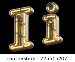 yellow neon sign chrome font.... | Shutterstock . vector #725515207