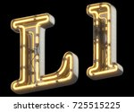 yellow neon sign chrome font.... | Shutterstock . vector #725515225