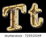 yellow neon sign chrome font.... | Shutterstock . vector #725515249