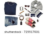 male fashion accessories flat... | Shutterstock . vector #725517031