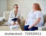 portrait of obese young woman... | Shutterstock . vector #725520511