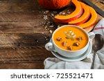 pumpkin soup puree | Shutterstock . vector #725521471