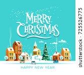 snowy street. urban winter... | Shutterstock .eps vector #725526775