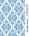 oriental blue floral ornament.... | Shutterstock .eps vector #725531257