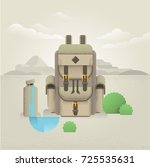 backpack with water bottle in... | Shutterstock .eps vector #725535631