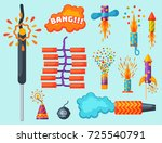 fireworks vector set... | Shutterstock .eps vector #725540791