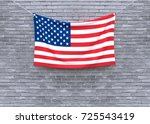 american flag hanging on brick... | Shutterstock . vector #725543419