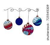 merry christmas balls in doodle ... | Shutterstock .eps vector #725545309