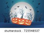 happy halloween poster and...   Shutterstock .eps vector #725548537