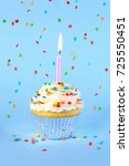 iced birthday cupcake with with ... | Shutterstock . vector #725550451