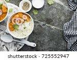 homemade dinner butter chicken...   Shutterstock . vector #725552947