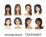 set of woman avatars with... | Shutterstock .eps vector #725554507