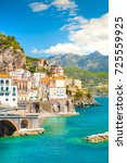 morning view of amalfi... | Shutterstock . vector #725559925