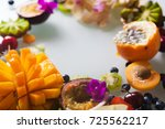 various fresh fruits and... | Shutterstock . vector #725562217