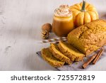 pumpkin bread cake with pumpkin ...   Shutterstock . vector #725572819