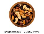 mix nuts  dry fruits and grapes ...   Shutterstock . vector #725574991