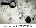 an ancient map  a compass and a ... | Shutterstock . vector #725579914
