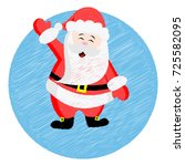 santa claus. embroidery. vector ... | Shutterstock .eps vector #725582095