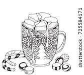 christmas mug with hot... | Shutterstock .eps vector #725584171