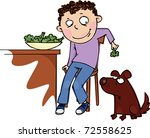 the boy feeds the dog broccoli   Shutterstock .eps vector #72558625