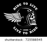 biker skull in helmet with wing.... | Shutterstock .eps vector #725588545