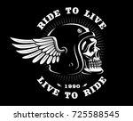 Biker Skull In Helmet With Win...