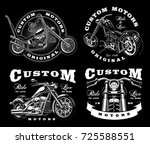 set of 4 vintage biker... | Shutterstock .eps vector #725588551