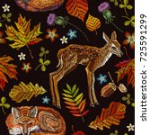 embroidery deer and fox  autumn ... | Shutterstock .eps vector #725591299
