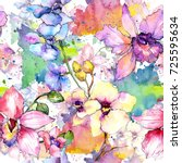 Stock photo wildflower orchid flower pattern in a watercolor style full name of the plant colorful orchid 725595634