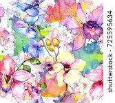 wildflower orchid flower... | Shutterstock . vector #725595634