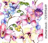 wildflower orchid flower...   Shutterstock . vector #725595649