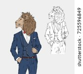 lion dressed up in classy style ... | Shutterstock .eps vector #725596849