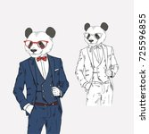 panda dressed up in classy... | Shutterstock .eps vector #725596855
