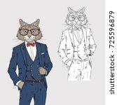 cat dressed up in classy style  ...   Shutterstock .eps vector #725596879