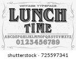 vintage font alphabet... | Shutterstock .eps vector #725597341