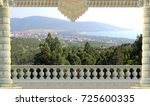 digital fresco. mountains  town ... | Shutterstock . vector #725600335