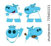 set of hippopotamus characters... | Shutterstock .eps vector #725601211