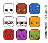 vector set of cute monster...   Shutterstock .eps vector #725601241